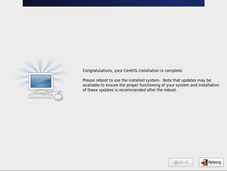 CentOS 6 congrats screen