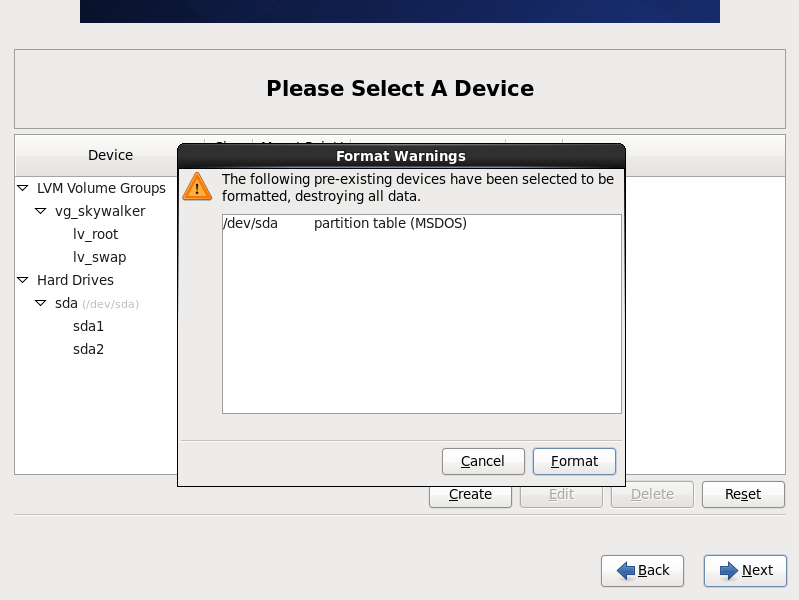 CentOS 6 format warning
