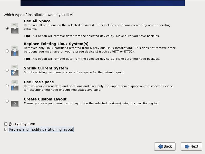 CentOS 6 partition options