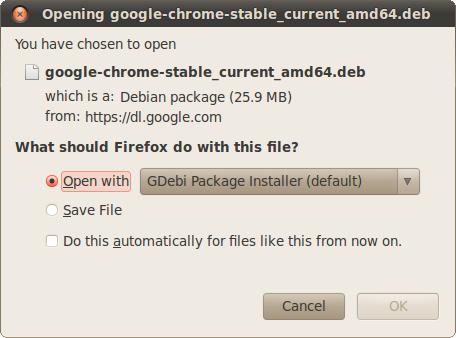 Open Google Chrome .dpkg with GDebi