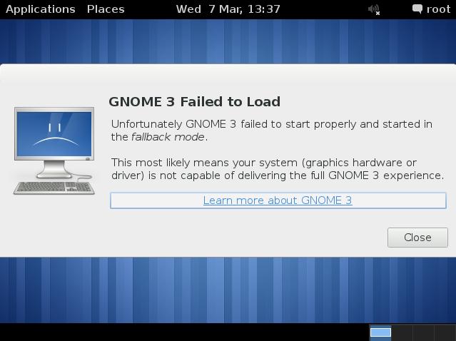 Gnome 3 Failed to Load