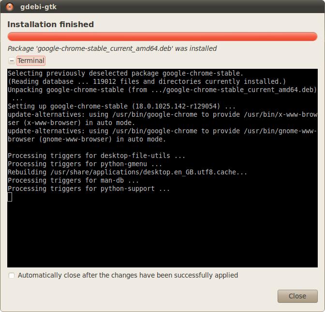 Ubuntu Google Chrome Installation