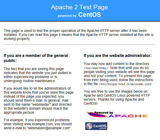 CentOS Apache Install Default Page