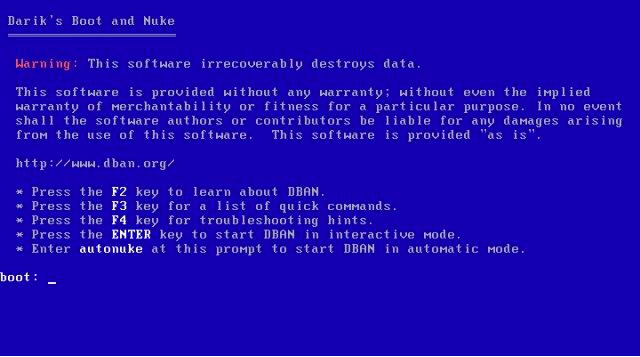 How To Erase Hard Drive - DBAN Boot Screen